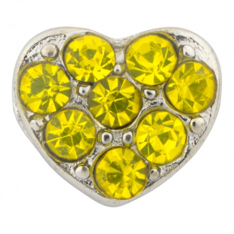 Heart with Yellow Crystals Floating Charm