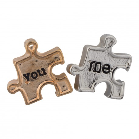 Me and You - Puzzle Pieces Floating Charm