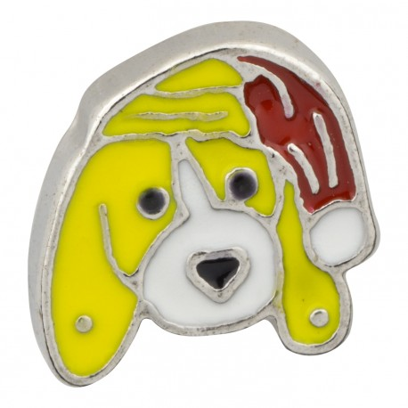 Dog with Holiday Hat Floating Charm