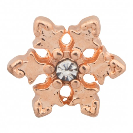 Snowflake - Copper with Crystal Floating Charm