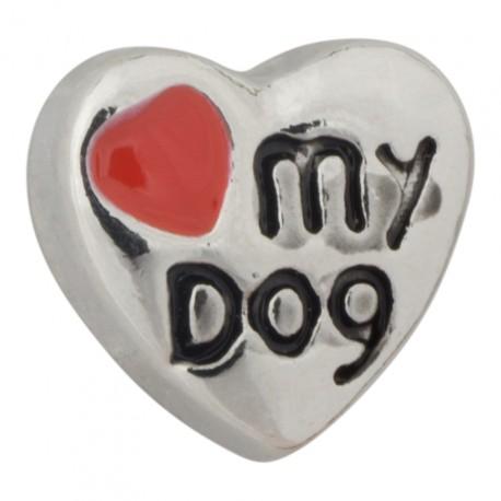 Love my Dog Heart Floating Charm