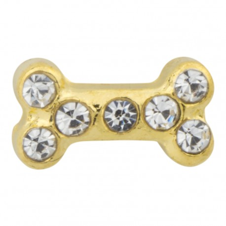 Dog Bone - Gold with Crystals Floating Charm