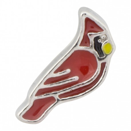 Red Cardinal - Silver Floating Charm