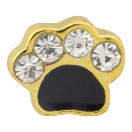 Paw Print with Crystals - Gold Floating Charm