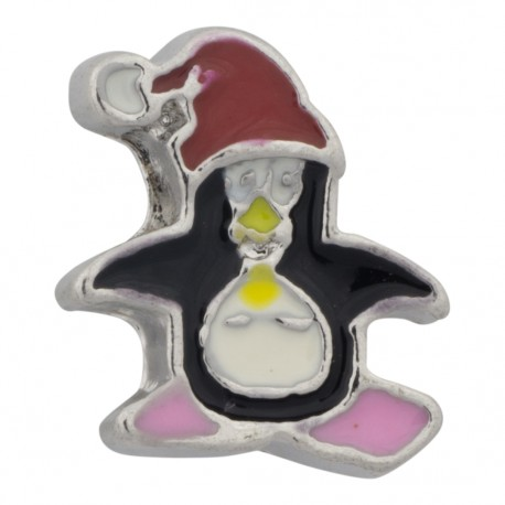 Penguin with Christmas Hat Floating Charm