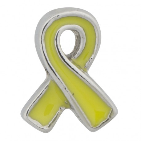 Awareness Ribbon - Yellow Floating Charm