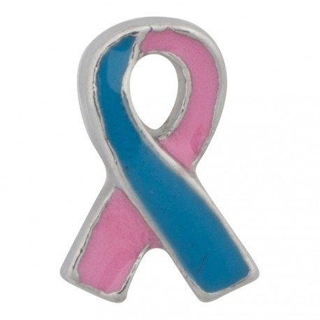 Awareness Ribbon - Pink and Blue Floating Charm