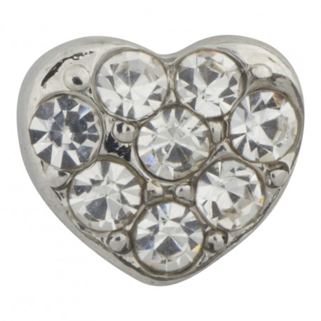 Heart with Crystals - Silver Floating Charm