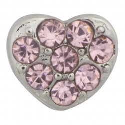 Heart with Pink Crystals Floating Charm