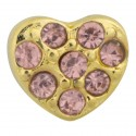 Heart with Pink Crystals - Gold Floating Charm