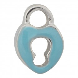 Heart Lock - Blue Floating Charm