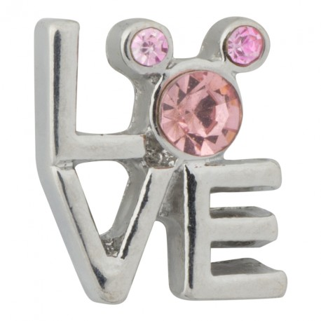 Love - Pink Crystals Floating Charm