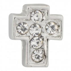Cross with Crystals Floating Charm