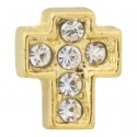 Cross - Gold with Crystals Floating Charm
