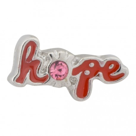 Hope Text with Pink Crystal Floating Charm