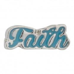 Faith Script Floating Charm