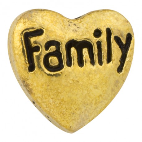 Heart - Family - Gold Floating Charm
