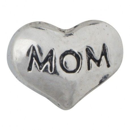 Mom - Heart - Silver Floating Charm