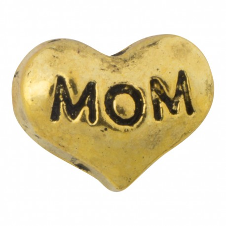 Mom - Heart - Gold Floating Charm