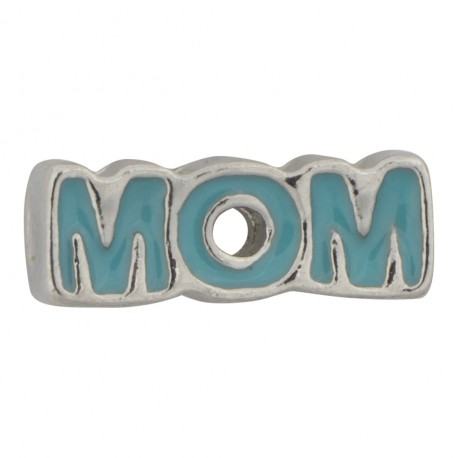 Mom Text - Turquoise Floating Charm
