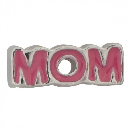 Mom Text - Pink Floating Charm