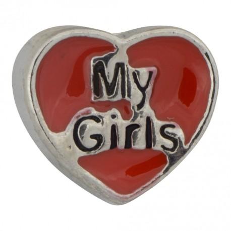 My Girls Heart Floating Charm