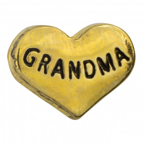 Heart - Grandma - Gold Floating Charm