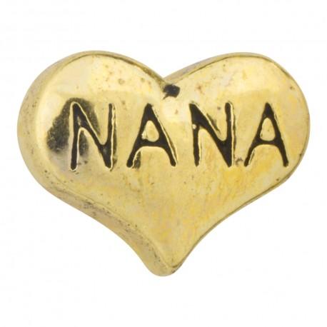 Heart - Nana - Gold Floating Charm