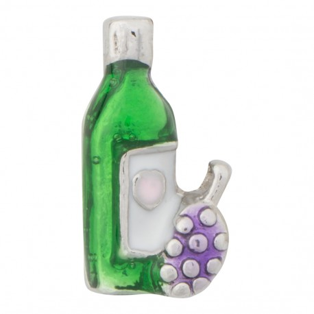Wine Bottle and Grapes Floating Charm