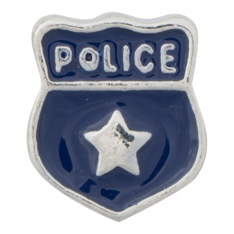 Police Shield Badge Floating Charm