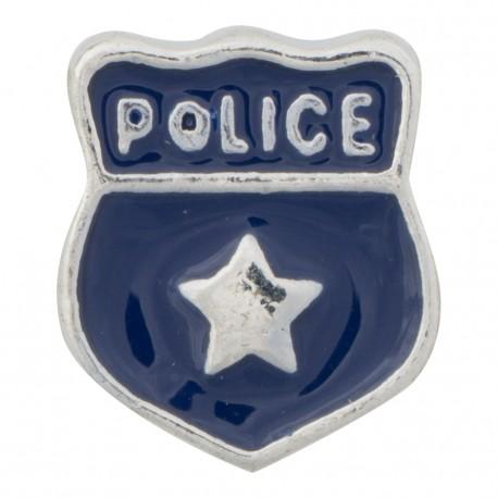 Police Shield Badge Floating Charm
