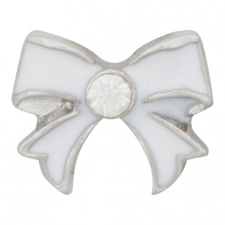 Bow - White with Crystal Floating Charm