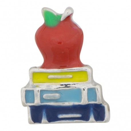 Teacher - School Books and Apple Floating Charm