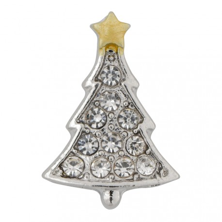 Christmas Tree with Crystals Floating Charm