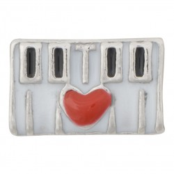 Keyboard with Heart Floating Charm