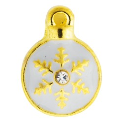 Holiday Ornament - Snowflake with Crystal Floating Charm
