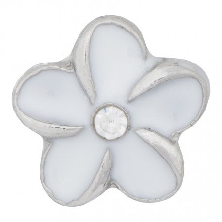 Flower - White with Crystal Floating Charm