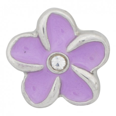 Flower - Purple with Crystal Floating Charm