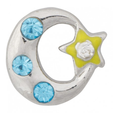 Moon and Star Floating Charm