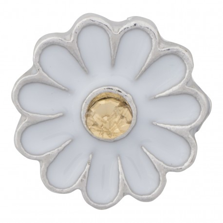 Flower with Yellow Crystal Floating Charm