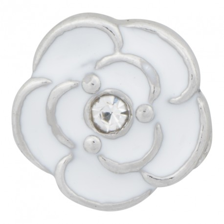 Flower with Crystal - White Floating Charm