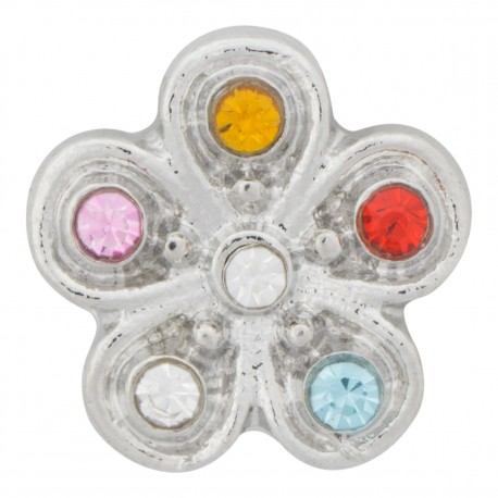 Flower with Multiple Color Crystals Floating Charm
