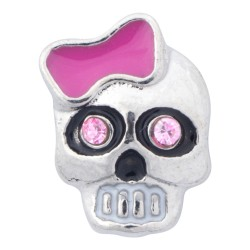 Skull with Pink Ribbon Floating Charm
