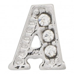"""A"" Letter - Silver with Crystals Floating Charm"