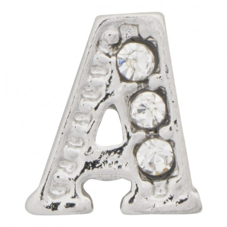 """""""A"""" Letter - Silver with Crystals Floating Charm"""