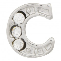 """C"" Letter - Silver with Crystals Floating Charm"