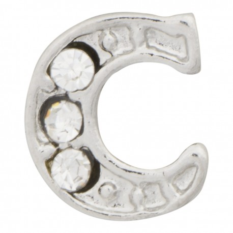 """""""C"""" Letter - Silver with Crystals Floating Charm"""