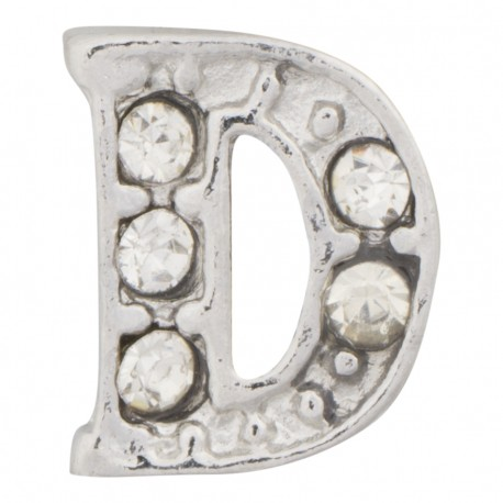 """D"" Letter - Silver with Crystals Floating Charm"