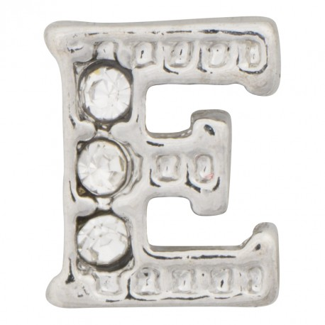 """E"" Letter - Silver with Crystals Floating Charm"