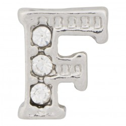 """F"" Letter - Silver with Crystals Floating Charm"